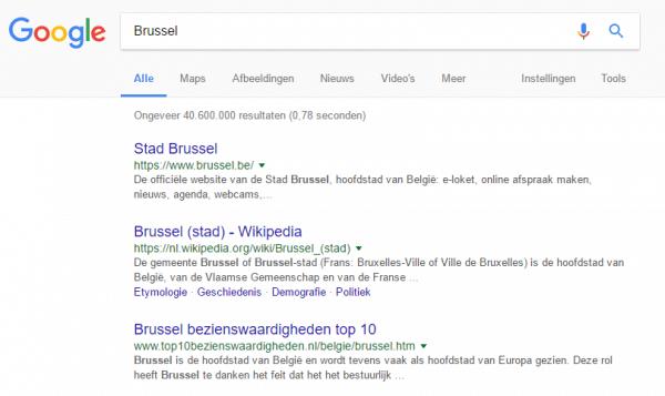 Top 3 zoektermen voor het woord Brussel in Google